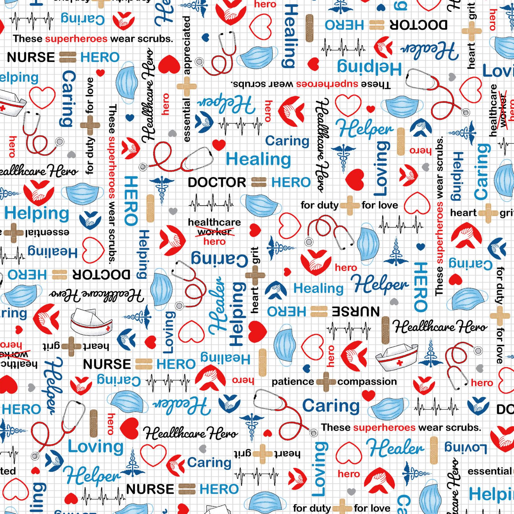 Windham Fabrics Calling all nurses - Heathcare Heroes - White