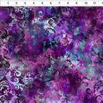 In the Beginning Fabrics Floragraphix V - Leaf Swirl - Purple