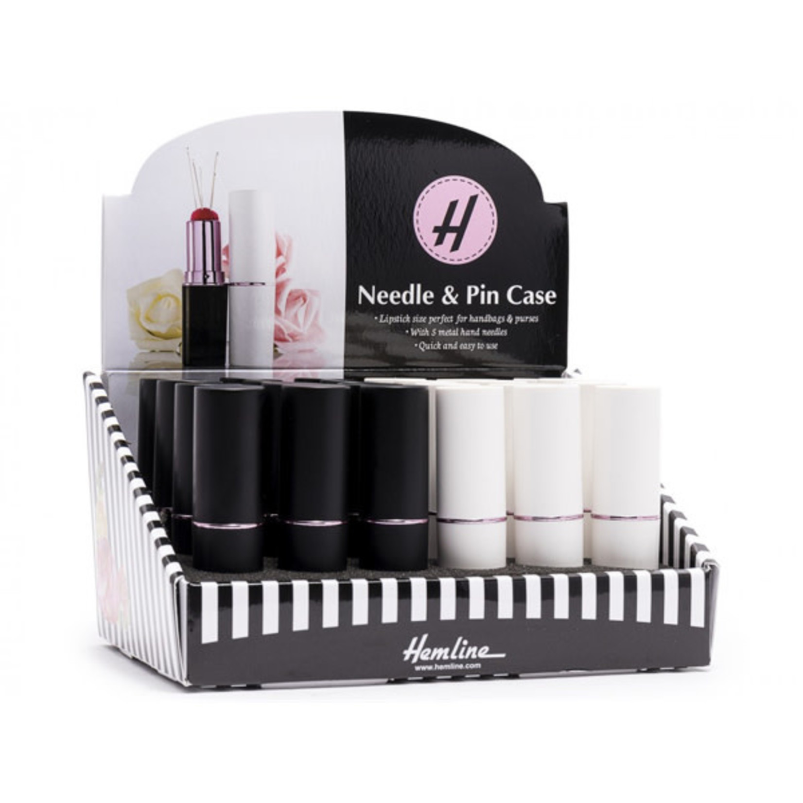 Hemline Naaldenkoker - Lipstick - 5 Naalden - Wit / Zwart