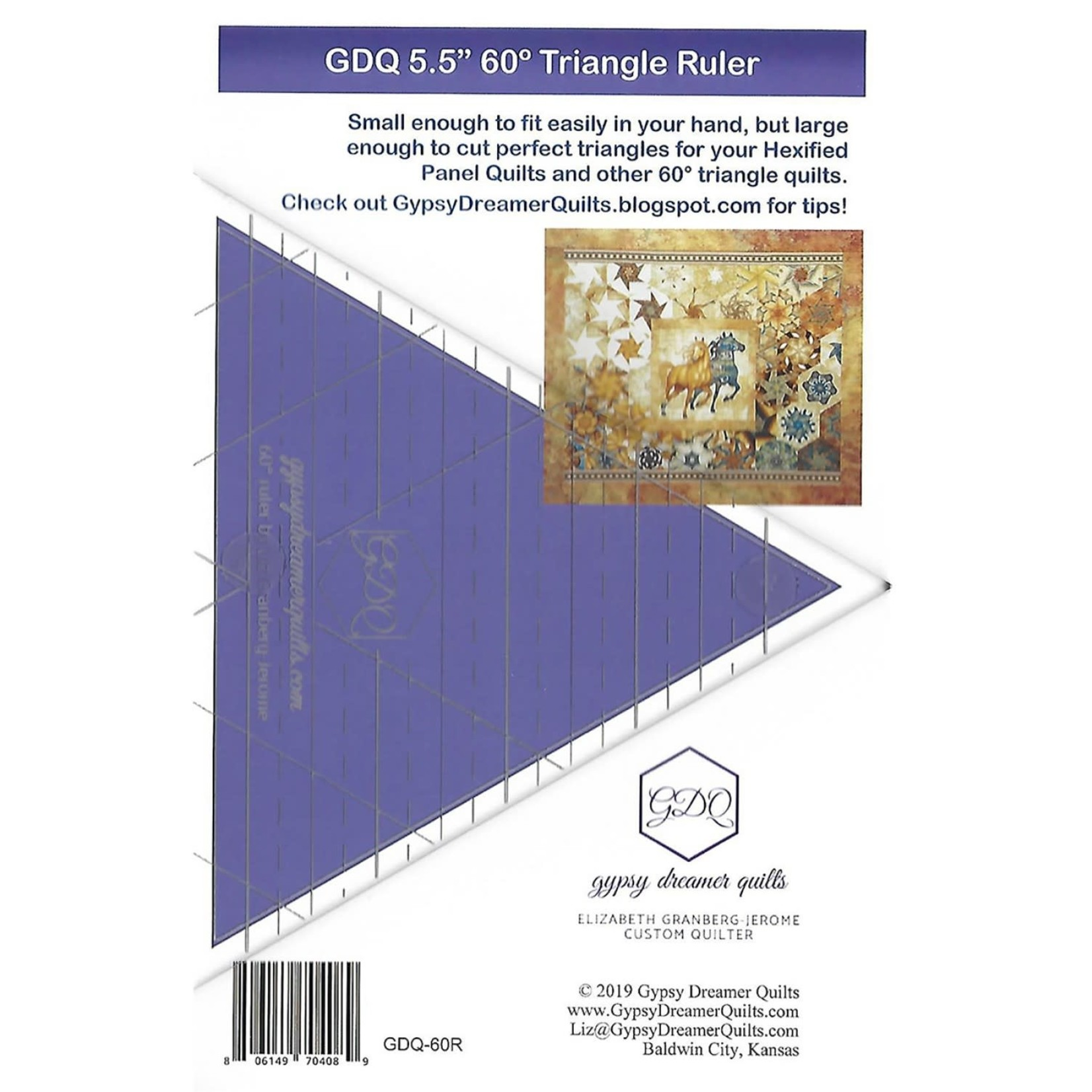 Gypsy Dreamer Quilts Liniaal - 60° Triangle Ruler - 5,5 inch