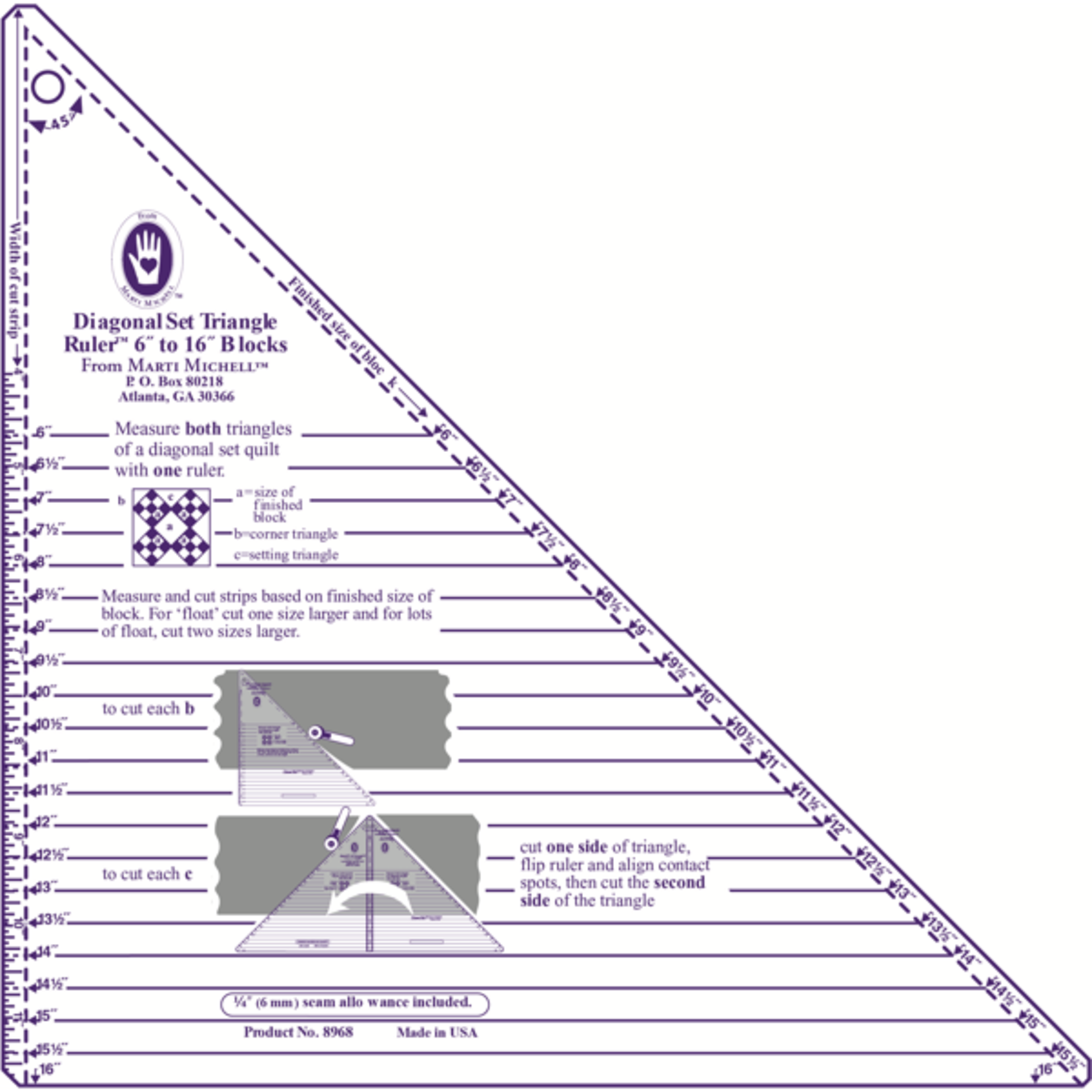 Marti Michell Liniaal - Diagonal Set Triangle Ruler - Large