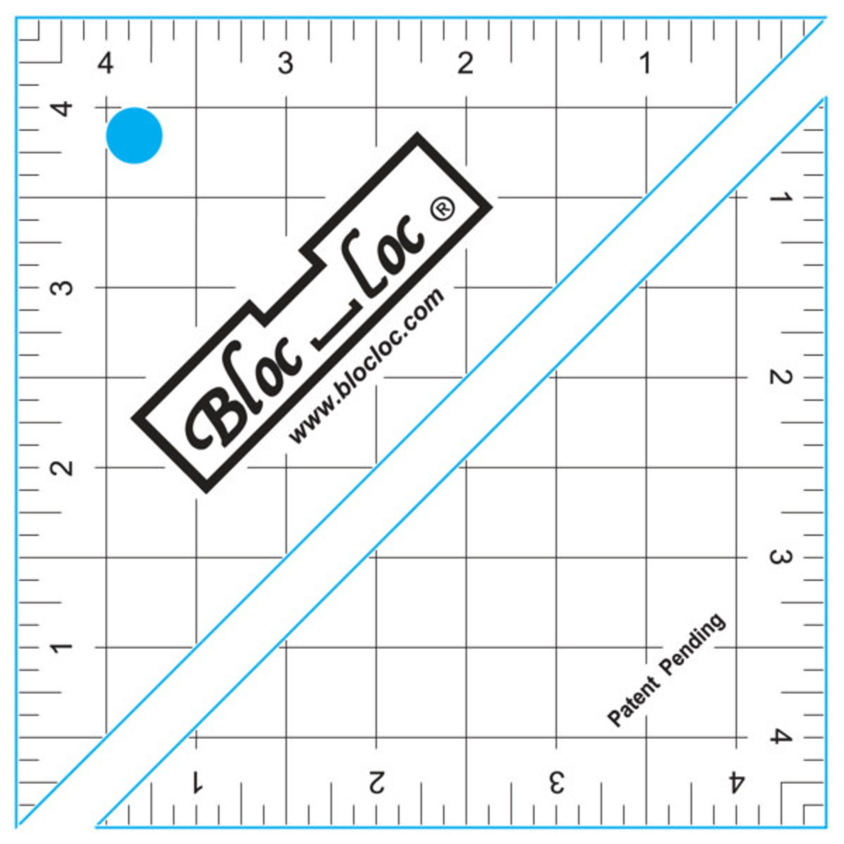 Blocloc Liniaal - Half Square Triangle on Point Ruler - 4,5 inch