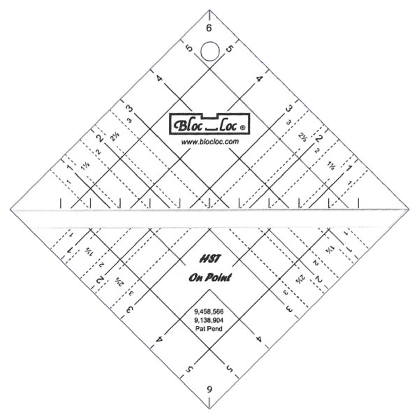 Blocloc Liniaal - Half Square Triangle on Point Ruler - 6,5 inch