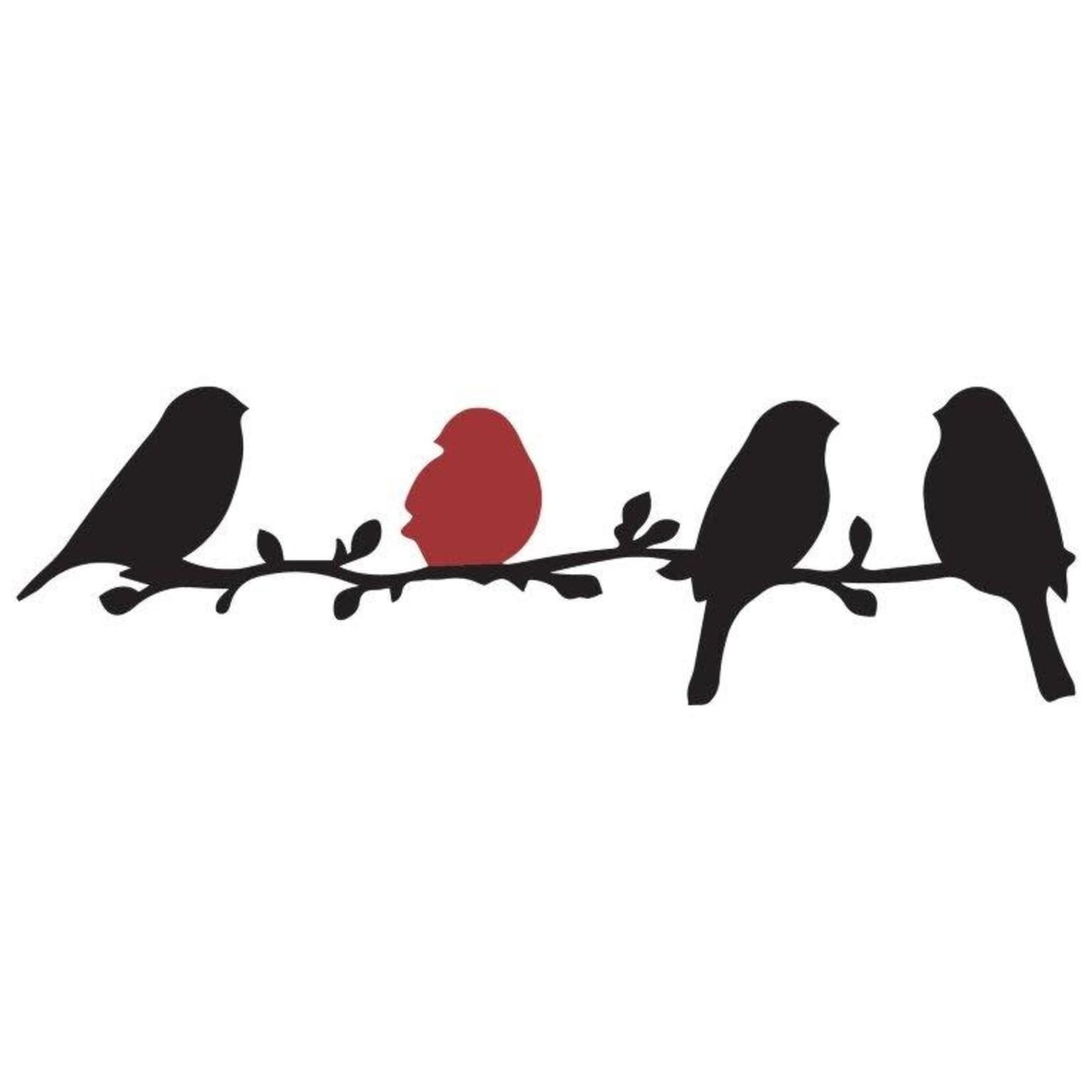 Quilting creations Applicatie - Vogels op tak - Zwart rood