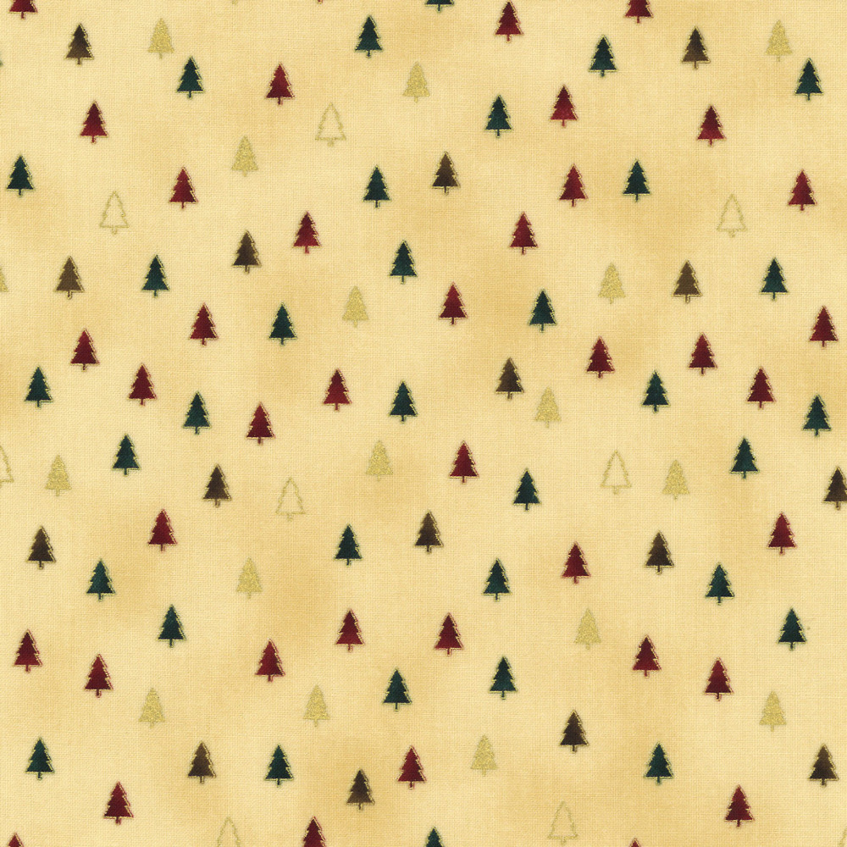 Stof Fabrics Christmas Wonders - Trees - Beige Gold