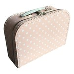 Koffertje - 25 cm x 18 cm x 9 cm - Roze gestipt