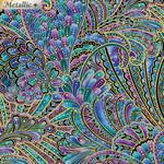 Benartex Studio Peacock Flourish - Geplastifiseerd - Opulence metallic gold - Van de  rol(per 10cm) 110cm breed