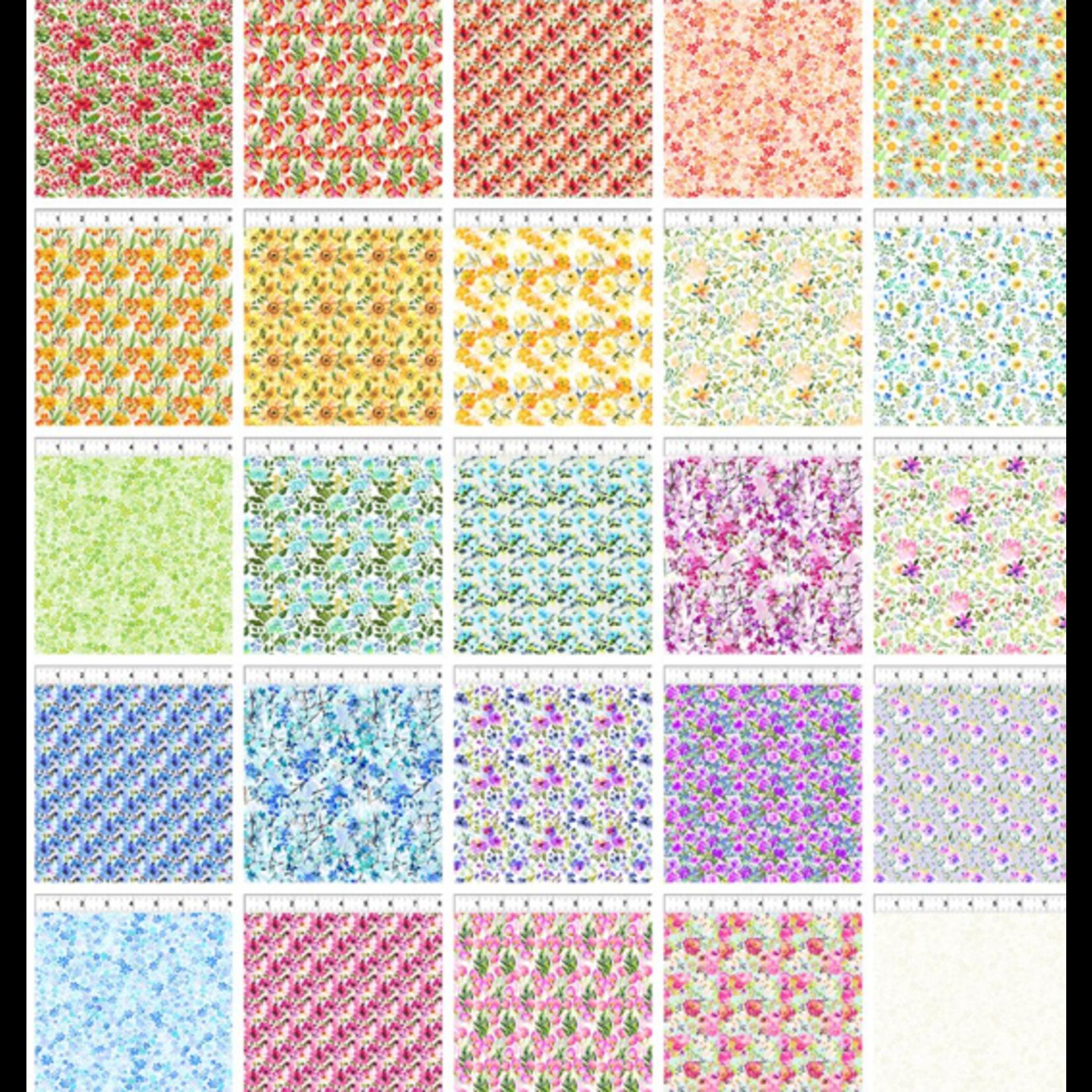 In the Beginning Fabrics Watercolor Beauty - Charmpack  25 stuks