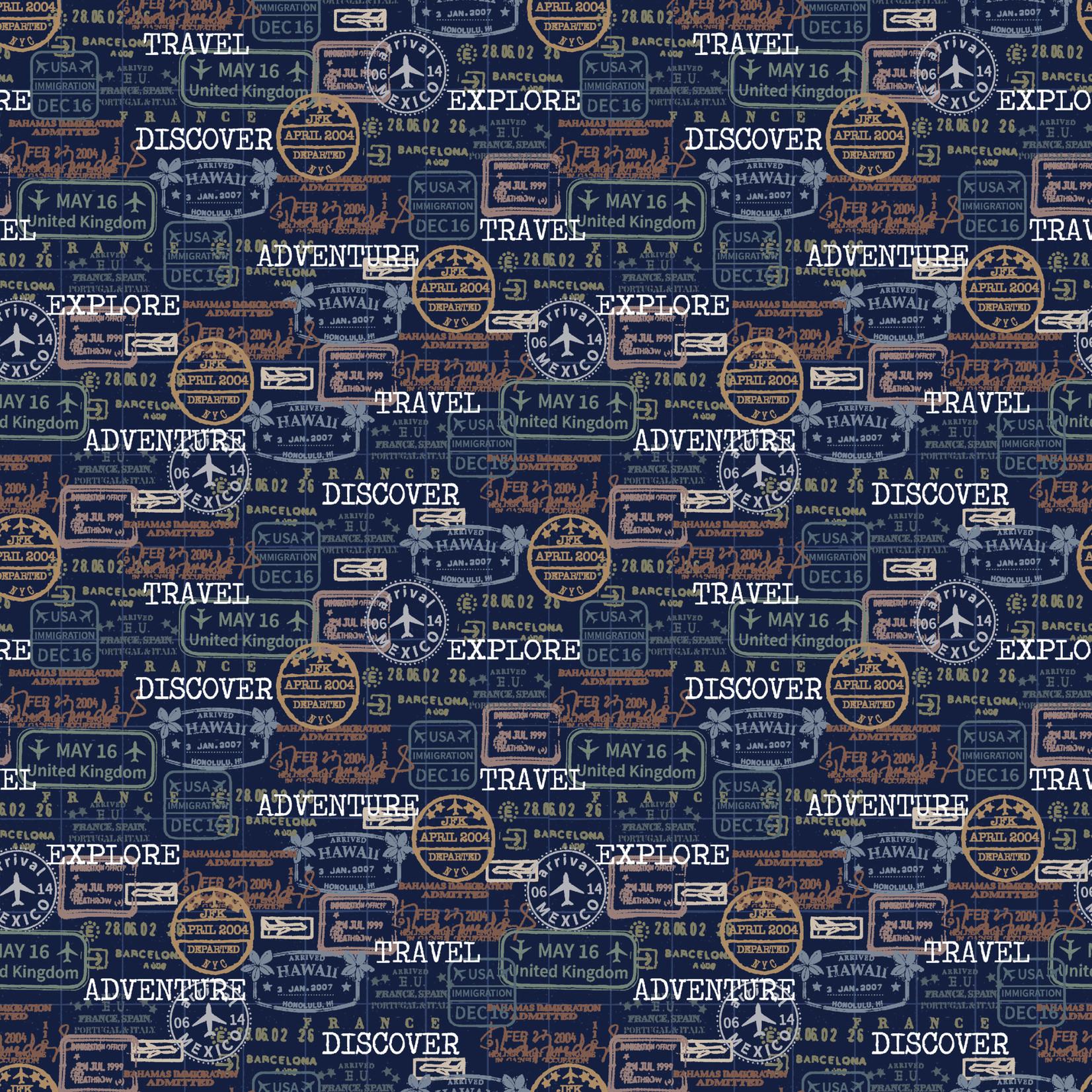 Windham Fabrics Discover - Passport Stamps - Navy