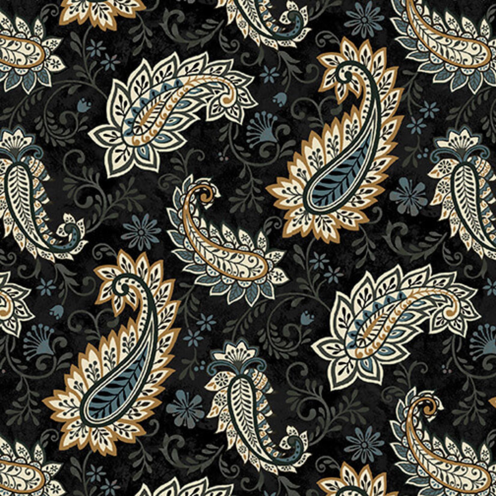 Studio E Fabrics Le Poulet - Paisley - Black