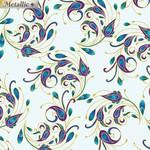 Benartex Peacock Florish - Spin It - Light Teal Multi
