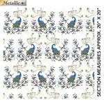 Benartex Studio Peacock Florish - Double Exposure - White