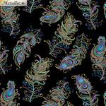 Benartex Studio Peacock Florish - Geplastificeerd - Float feather - Black Multi