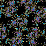 Benartex Peacock Florish - Laminate Spin - Zwart Multi