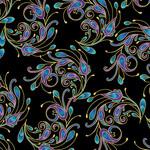 Benartex Studio Peacock Florish - Laminate Spin - Zwart Multi