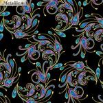 Benartex Studio Peacock Florish - Spin It - Zwart Multi