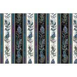 Benartex Peacock Flourish - Feather Flourish Stripe - Border - Black White