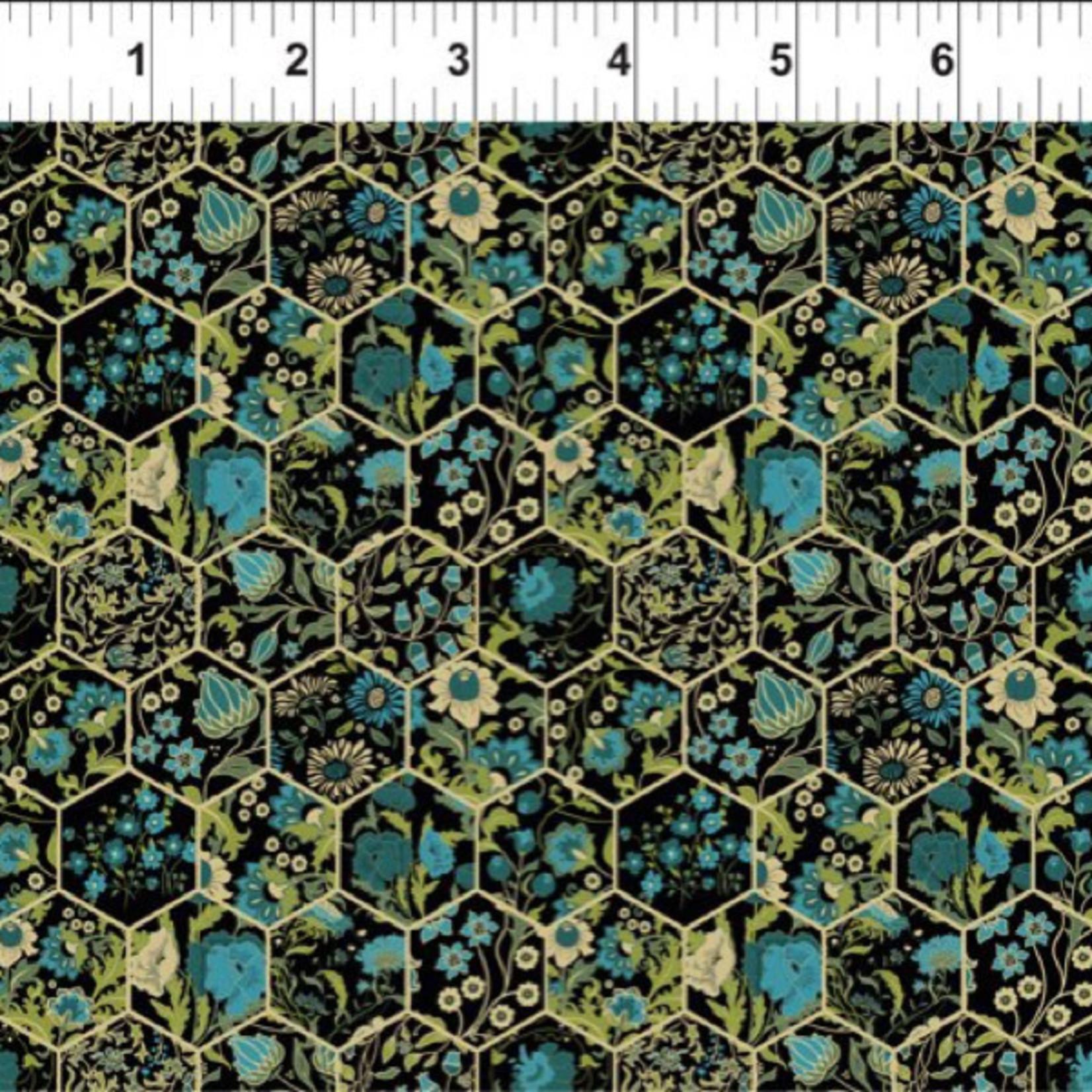 In the Beginning Fabrics Garden Delights - Hexagons - Teal
