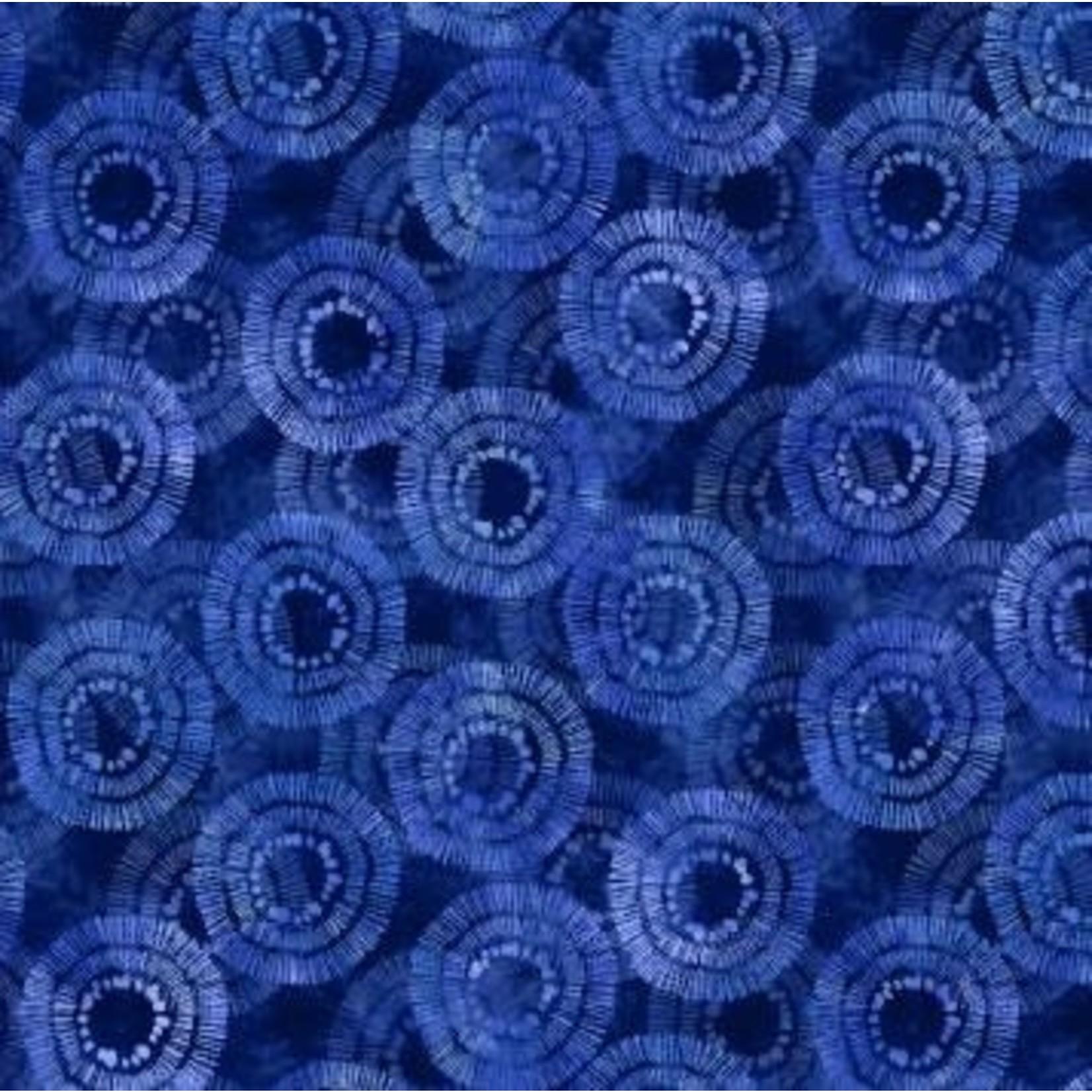 Wilmington Prints Circle Burst - Blauw Long Quarter (25 cm x 110 cm)