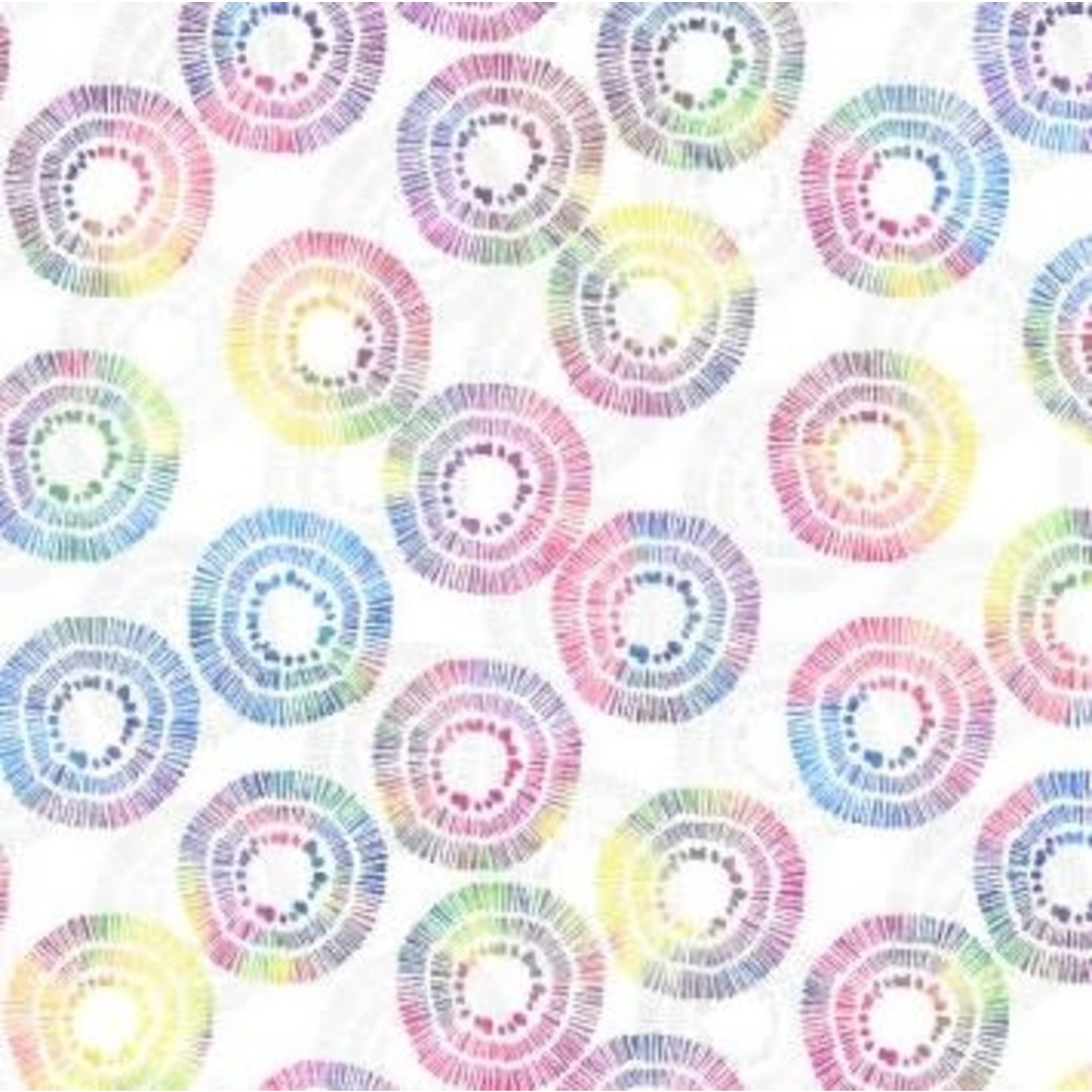 Wilmington Prints Circle Burst - Wit Multi Long Quarter (25 cm x 110 cm)
