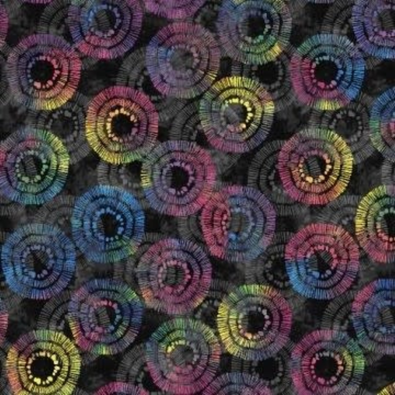 Wilmington Prints Circle Burst - Zwart Multi Long Quarter (25 cm x 110 cm)