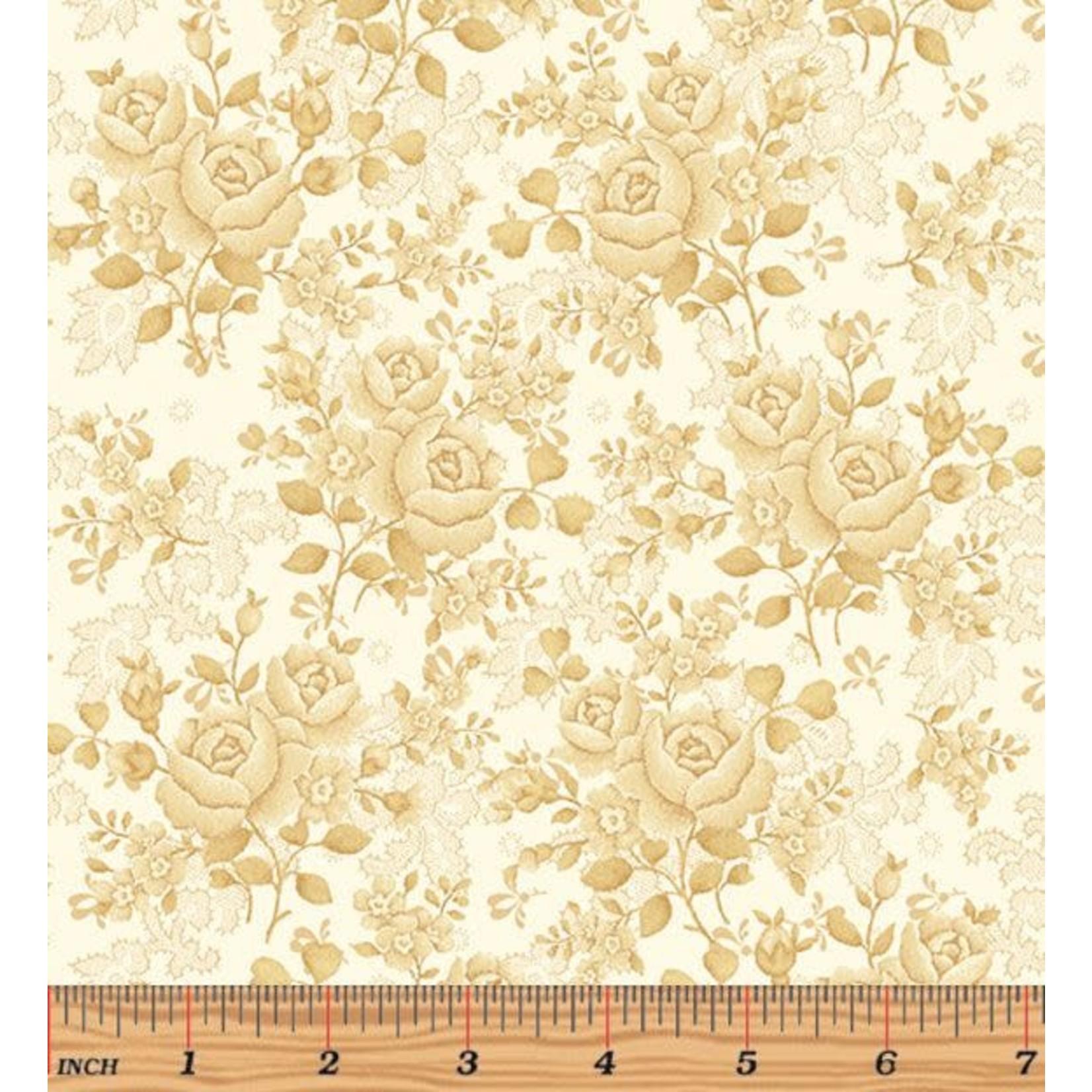 Benartex Studio Homestead Carriage - Climbing Rose - Cream - Coupon - 185 cm x 275 cm