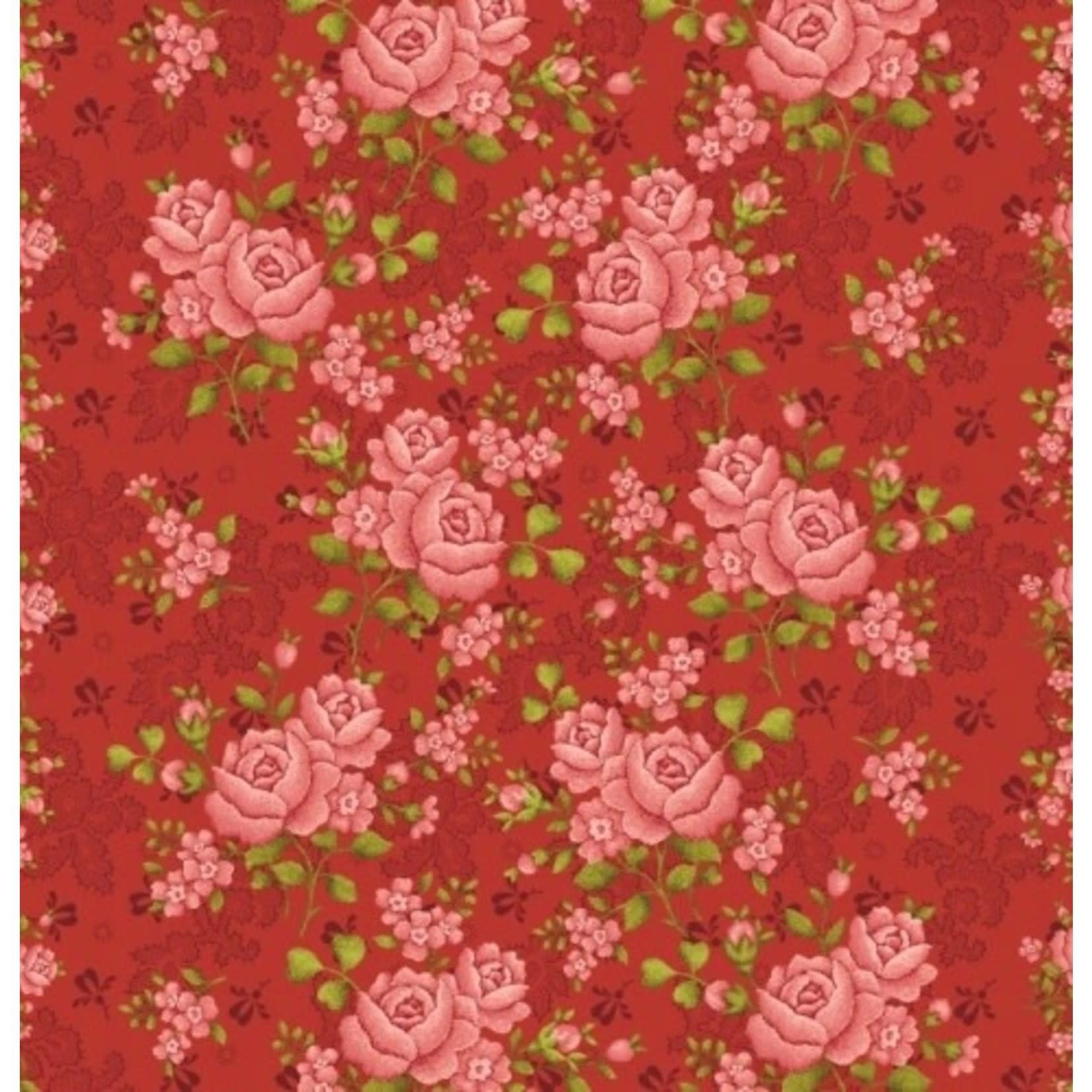 Benartex Studio Homestead Carriage - Climbing Rose - Red - Coupon - 130 cm x 275 cm