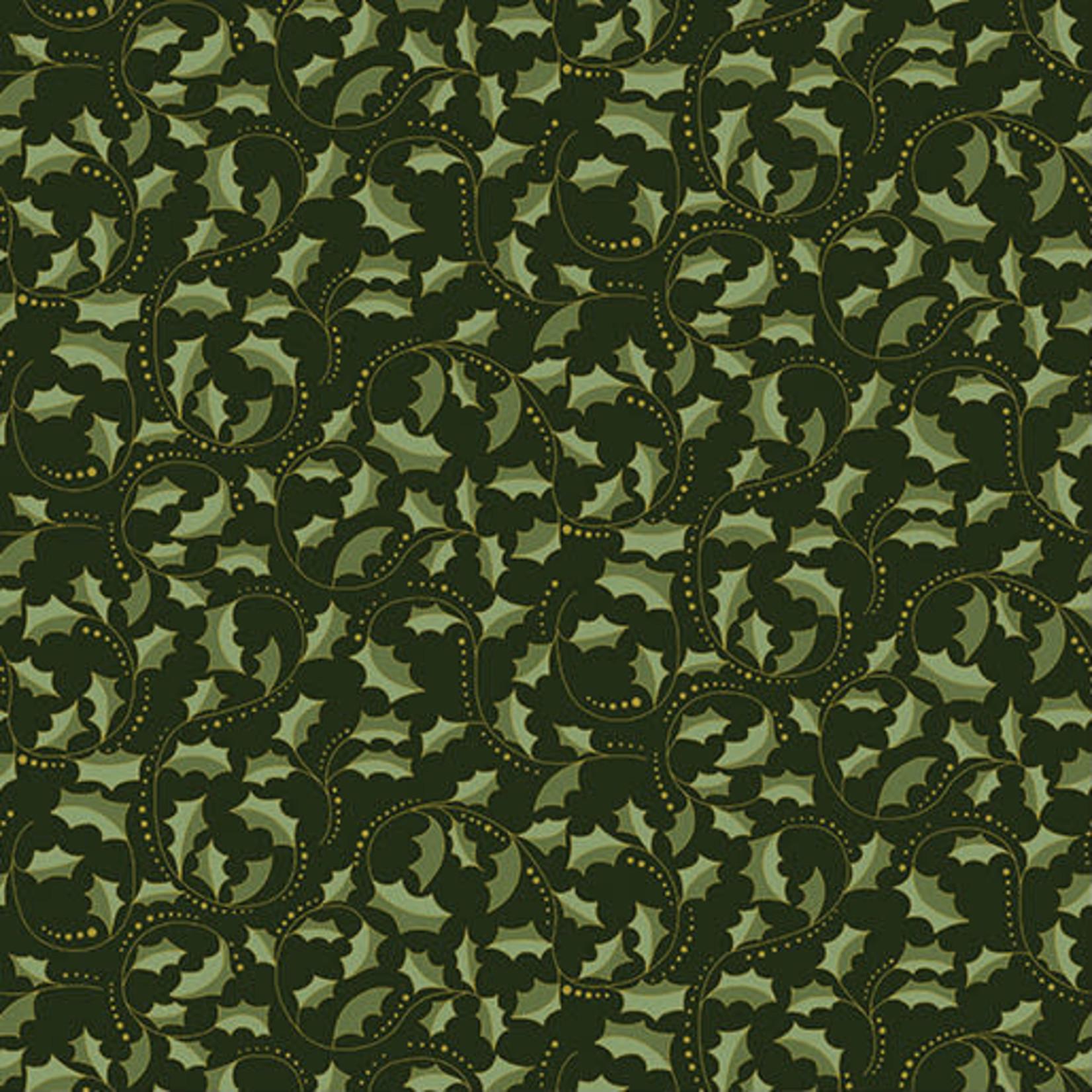 Benartex Studio Festive Chikadees - Golden Leaf Scroll - Dark Green