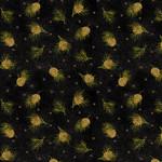 Benartex Winterberry - Dotted Pine - Black