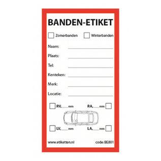 @Mask ROLLEN etiketten autobanden 80x150 mm BEDRUKT 500 per rol kern: 40 mm TYRE Label