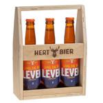 Hert Bier Houten kratje met  3x Lang Zal Die Leven