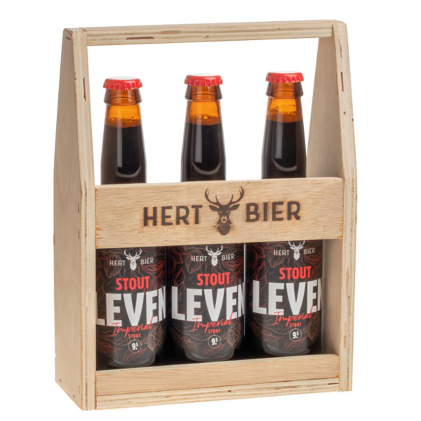 Hert Bier Bierkrat met 3x Stout Leven