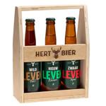 Hert Bier Houten kratje met Wild Leven, Nieuw Leven & Zwaar Leven
