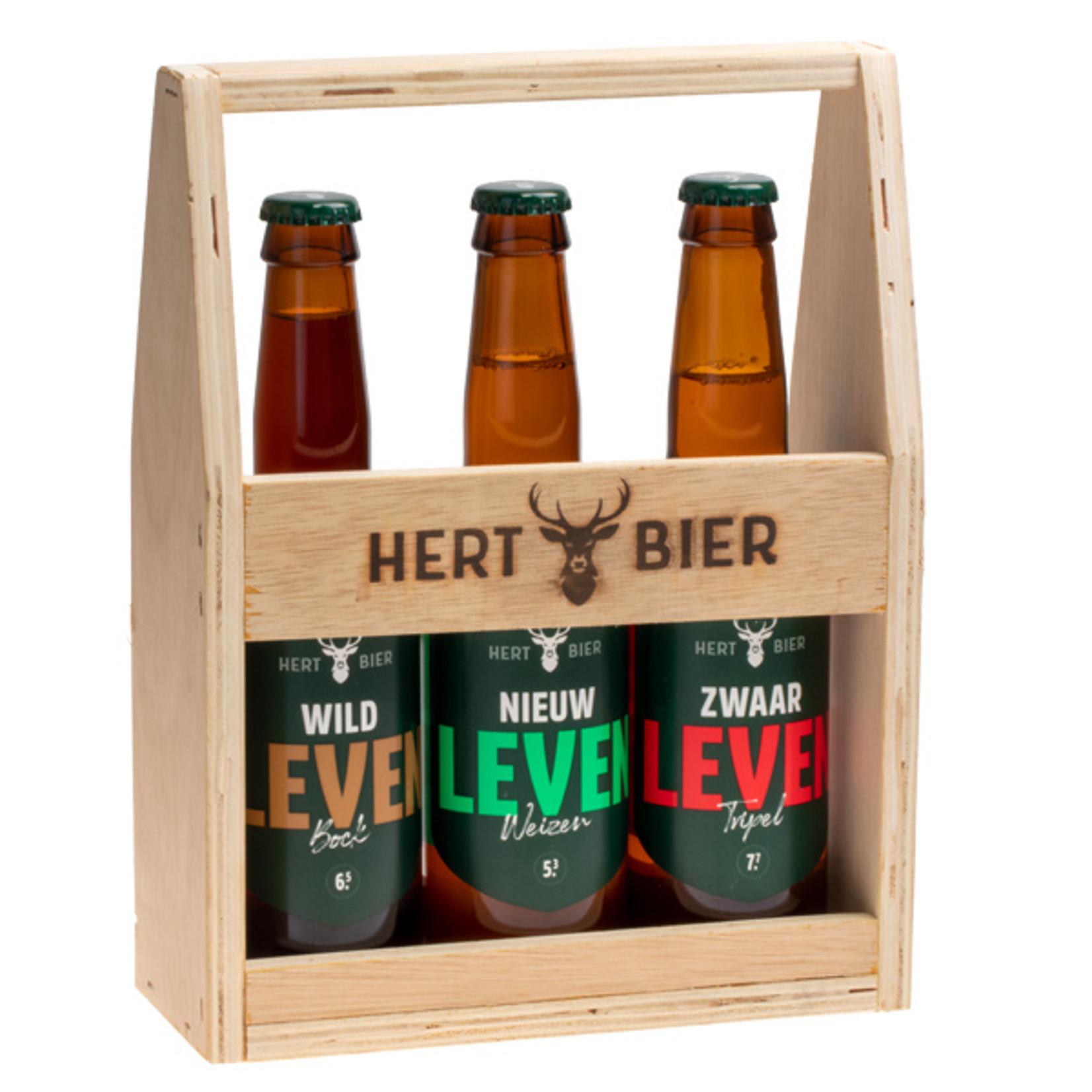 Hert Bier Bierkrat met Wild Leven, Nieuw Leven & Zwaar Leven