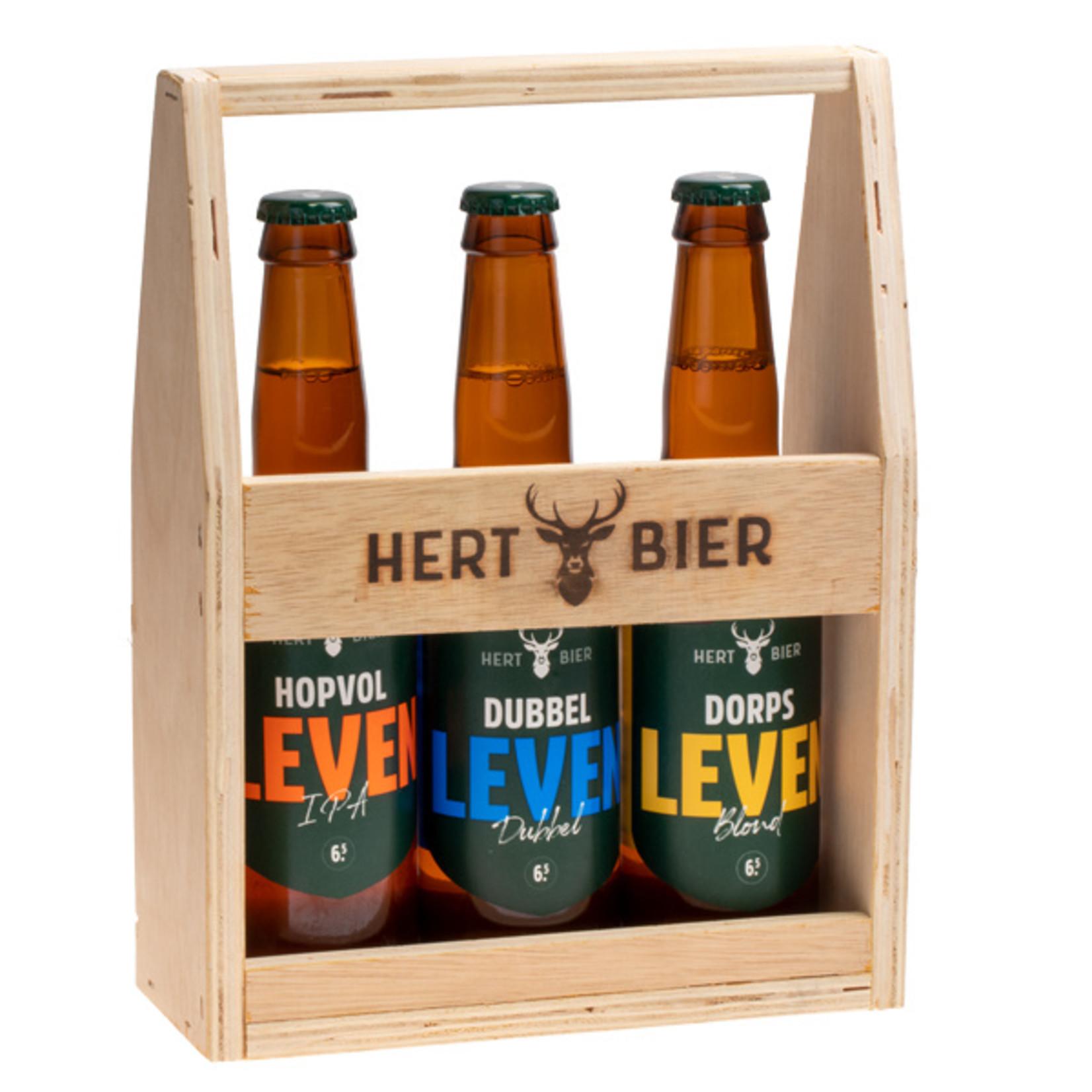 Hert Bier Bierkrat met Hopvol Leven, Dorps Leven & Dubbel Leven
