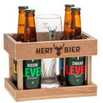 Hert Bier Houten kratje met 4 flesjes + glas