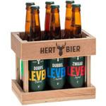 Hert Bier Houten bierkratje met 6 basis bieren