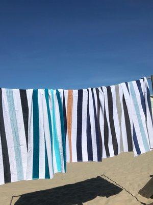 Gestreepte strandhanddoek