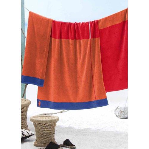 Seahorse Strandhanddoek Block rood