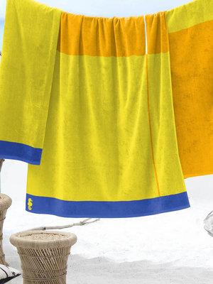 Seahorse Strandhanddoek Block geel