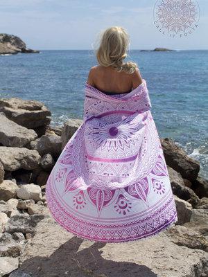 Ronde handdoek Spring pink