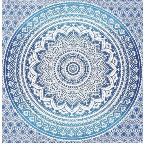 Vierkante strandhanddoek Mandala blauw