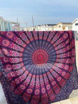 Vierkante strandhanddoek Pauw paars