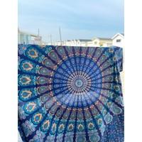 Vierkante strandhanddoek Pauw blauw
