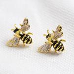 Lisa Angel Gold Enamel Bumblebee Stud Earrings