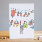Louise Tiler New Addition Baby Washing Line Card