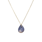 One & Eight Porcelain Blue and Gold Raindrop Necklace