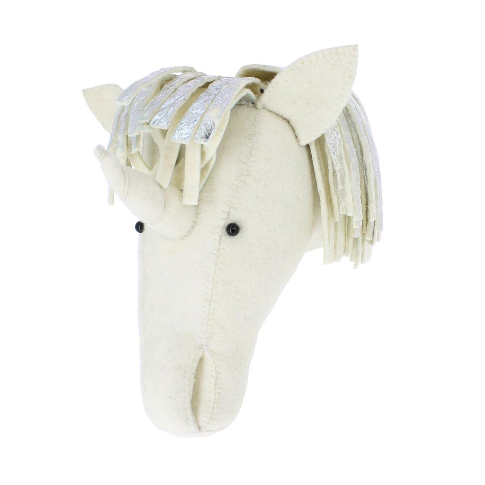 Fiona Walker Fiona Walker Semi Silver Mane Unicorn Felt Head