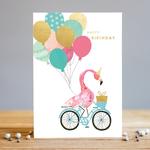 Louise Tiler Flamingo Bike Happy Birthday Card