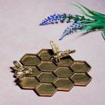 RJB Stone Gold Honeycomb Bee Trinket Dish